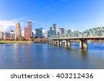 steel bridge over water with... | Shutterstock . vector #403212436