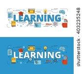 learning lettering flat line... | Shutterstock .eps vector #403235248