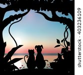 Stock vector vector illustrations silhouette the dog and cat romantic 403236109