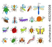 set of funny cartoon insects...   Shutterstock .eps vector #403250308