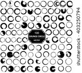 vector set of 100 grunge circle ... | Shutterstock .eps vector #403250794