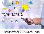 facilitating person holding a... | Shutterstock . vector #403262236