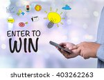enter to win person holding a... | Shutterstock . vector #403262263