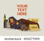 homeless man sleeping. vector...   Shutterstock .eps vector #403277494