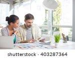 skillful interior designers are ... | Shutterstock . vector #403287364
