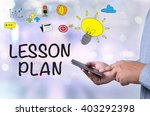 lesson plan person holding a... | Shutterstock . vector #403292398