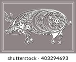 Patterned Pig In Floral Style....