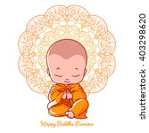 little meditating monk.... | Shutterstock .eps vector #403298620