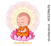 little cartoon monk on the... | Shutterstock .eps vector #403298656