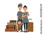 refugee family with suitcases... | Shutterstock .eps vector #403308139