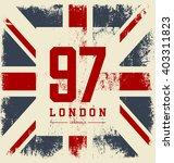 vintage united kingdom flag tee ... | Shutterstock .eps vector #403311823