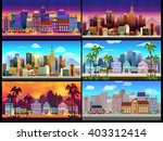 city game backgrounds set | Shutterstock .eps vector #403312414
