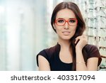 young woman with eyeglasses in... | Shutterstock . vector #403317094