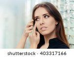 woman with cosmetic colored... | Shutterstock . vector #403317166