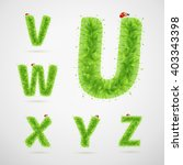 green leaves alphabet with... | Shutterstock .eps vector #403343398