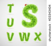 green leaves alphabet with... | Shutterstock .eps vector #403343404