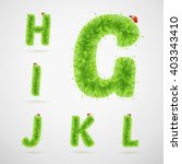 green leaves alphabet with... | Shutterstock .eps vector #403343410