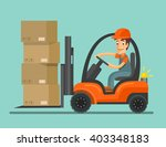 Forklift Truck With Worker....