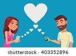 boy and girl talking online.... | Shutterstock .eps vector #403352896