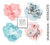 ink  watercolor flower line art ... | Shutterstock .eps vector #403362370