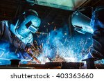 teamworker with protective mask ... | Shutterstock . vector #403363660