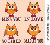 set of four orange cartoon owls ...