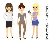 set of three girls  dressed in... | Shutterstock .eps vector #403407043