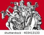 jazz band  red background | Shutterstock . vector #403413133