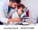 teacher helps kid to conduct... | Shutterstock . vector #403421488