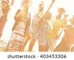 teenagers friends beach party... | Shutterstock . vector #403453306