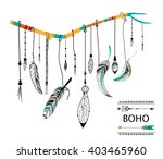 tribal boho style feather on... | Shutterstock .eps vector #403465960