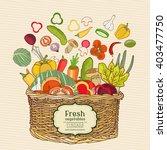fresh vegetables in a basket...   Shutterstock .eps vector #403477750