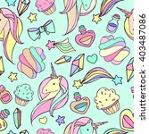 pattern with a unicorn and... | Shutterstock .eps vector #403487086