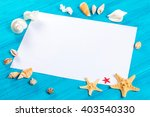 marine items and empty tag on... | Shutterstock . vector #403540330
