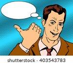man shows good hand gesture pop ...   Shutterstock .eps vector #403543783