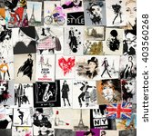 fashion collage with freehand... | Shutterstock . vector #403560268