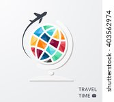 globe and airplane traveling... | Shutterstock .eps vector #403562974