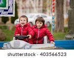two boys  riding boat in... | Shutterstock . vector #403566523