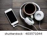 listening to music. white phone ... | Shutterstock . vector #403571044