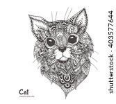 hand drawn cat with ethnic... | Shutterstock .eps vector #403577644