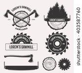 vintage sawmill logo set labels ... | Shutterstock .eps vector #403587760