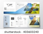 Vector set of tri-fold brochures, square design templates with element of world map and globe. Abstract colorful polygonal background with blurred image, triangular and hexagonal vector texture.  | Shutterstock vector #403603240