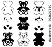black vector cute teddy bears... | Shutterstock .eps vector #403603960
