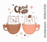 stunning card with cute funny... | Shutterstock .eps vector #403611520