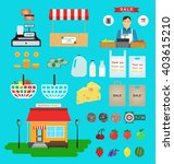 supermarket icons. food and... | Shutterstock .eps vector #403615210