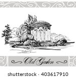 sketch of landscape with bower... | Shutterstock .eps vector #403617910