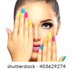 beauty girl face with colorful... | Shutterstock . vector #403629274