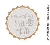 boho invitation card in white... | Shutterstock .eps vector #403631380