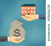 hands with house and money  bag.... | Shutterstock .eps vector #403636228