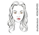 beautiful woman face hand drawn ... | Shutterstock .eps vector #403639450